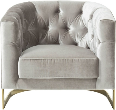 Serene Leah Grey and Gold Velvet Fabric Accent Chair