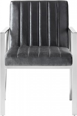 Serene Peyton Charcoal Velvet Fabric Accent Chair