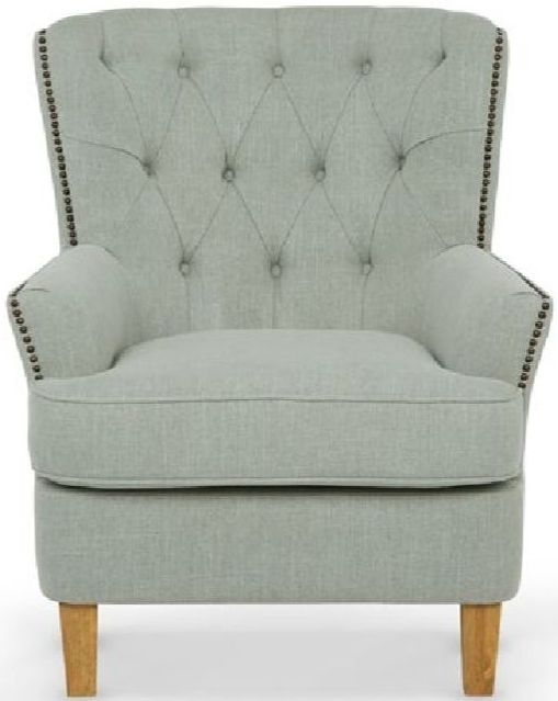 Serene Selkirk Duck Egg Grey Fabric Armchair