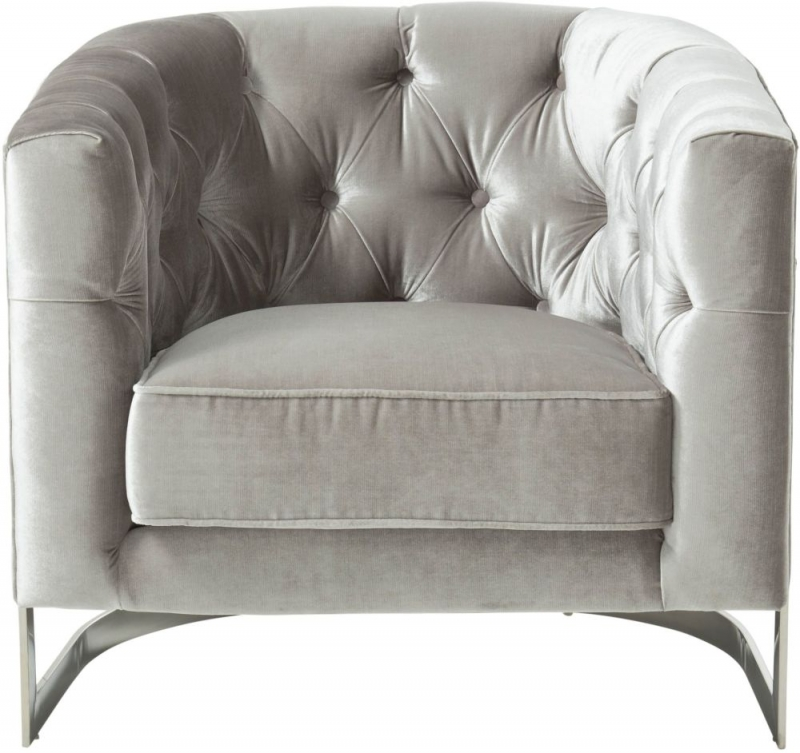 Serene Leah Grey and Silver Velvet Fabric Accent Chair