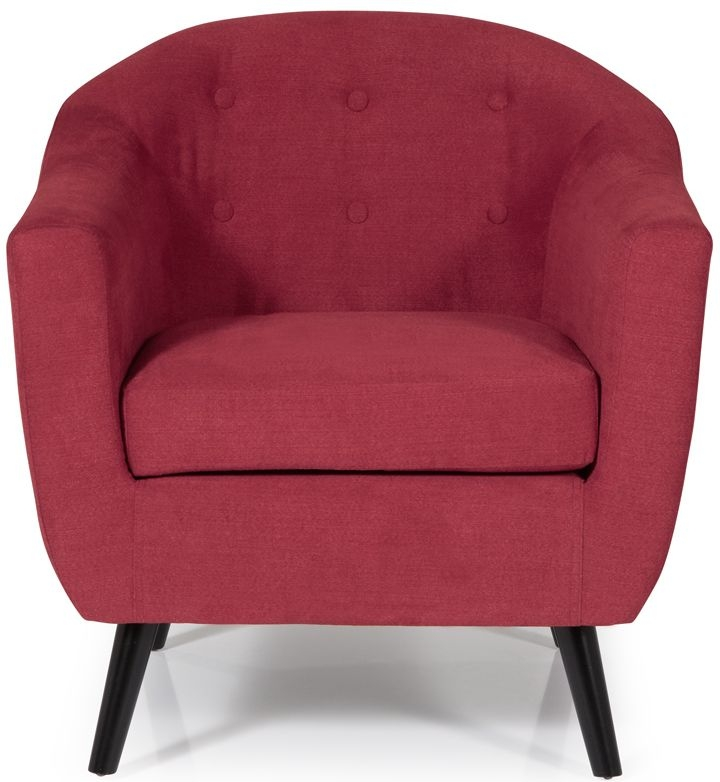 Serene Evie Red Fabric Armchair