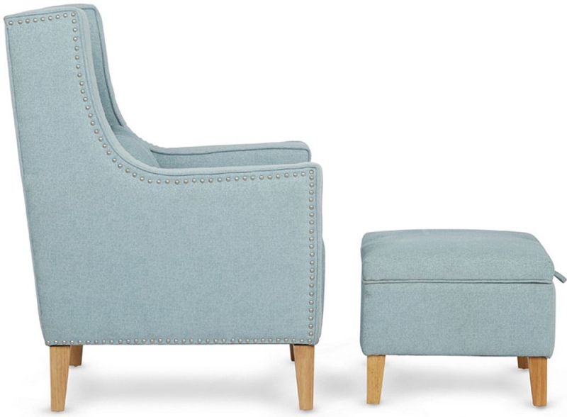 Serene Leven Duckegg Fabric Chair with Footstool