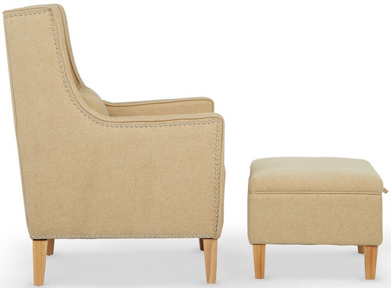 Serene Leven Oatmeal Fabric Chair with Footstool