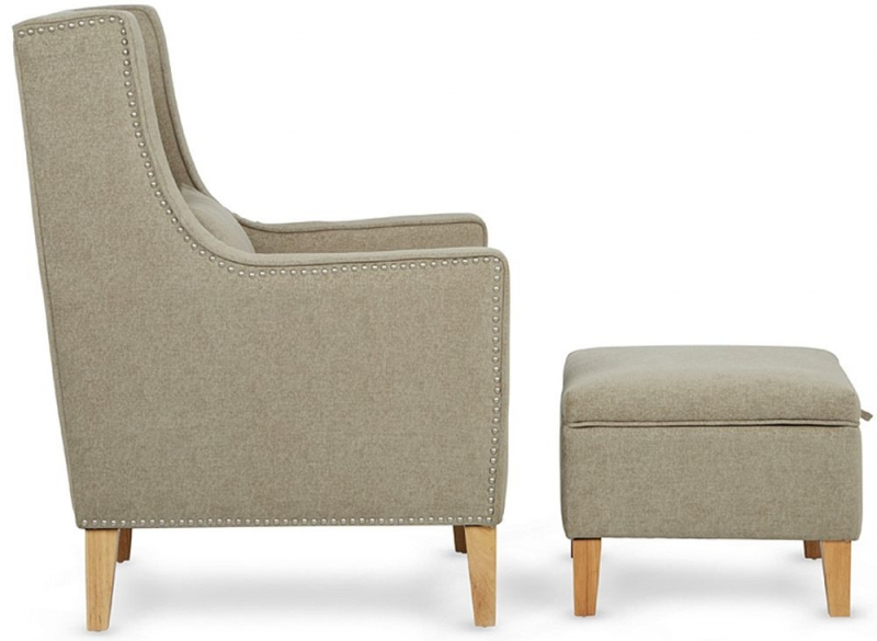 Serene Leven Sage Fabric Chair with Footstool