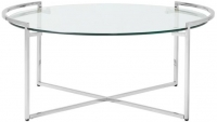 Serene Corin Round Coffee Table - Glass and Chrome