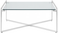 Serene Corin Square Coffee Table - Glass and Chrome