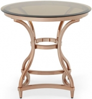 Serene Juliet Rose Gold and Smoked Glass Lamp Table
