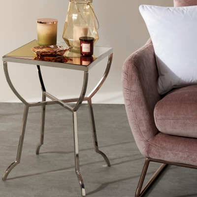 Serene Chennai Multicolour Mirror Top and Nickel Side Table