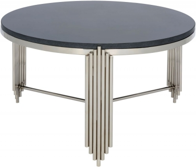 Serene Jaipur Black Granite Top and Nickel Round Coffee Table