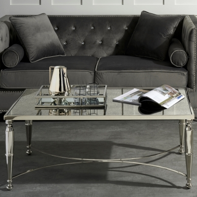 Serene Jodhpur Two Tone Effect Mirrored Glass and Nickel Coffee Table