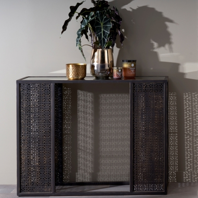 Serene Kashmir Two Tone Style Mirrored Glass and Brown Console Table