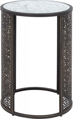 Serene Kashmir Two Tone Style Mirrored Glass and Brown Round Lamp Table