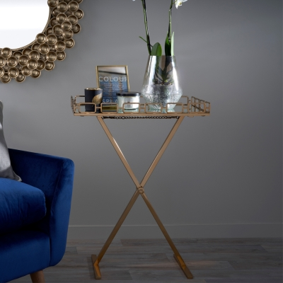 Serene Korba Mirrored Glass and Antique Gold Tray Table with Foldable Stand