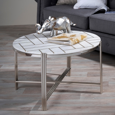 Serene Noida White Marble and Nickel Coffee Table