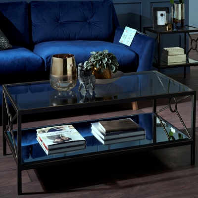 Serene Patna Tempered Clear Glass and Brown Coffee Table