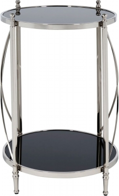 Serene Pune Black Glass and Nickel Round Side Table