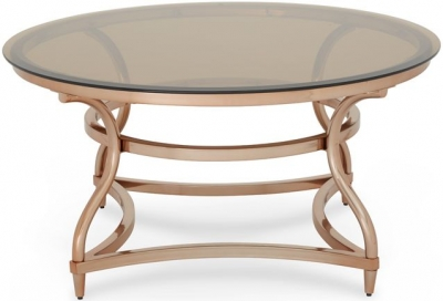 Serene Juliet Coffee Table - Glass and Rose Gold
