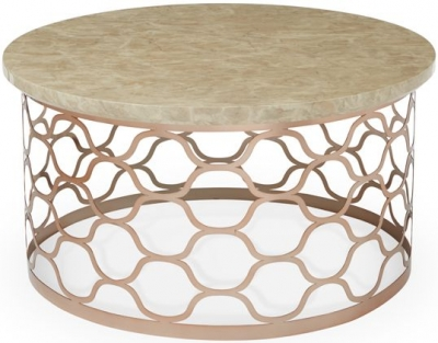 Serene Ophelia Coffee Table - Marble and Rose Gold