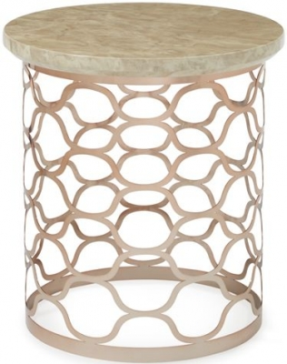 Serene Ophelia Lamp Table - Marble and Rose Gold