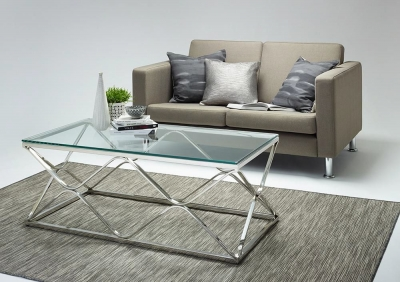 Serene Orion Coffee Table - Glass and Chrome