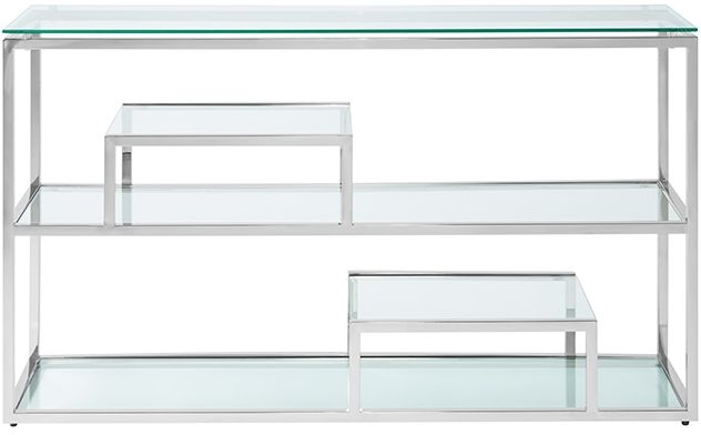Serene Lucia Glass and Silver Console Table