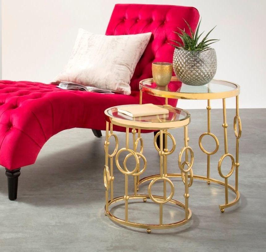Serene Alyssa Nest of Table - Glass and Golden