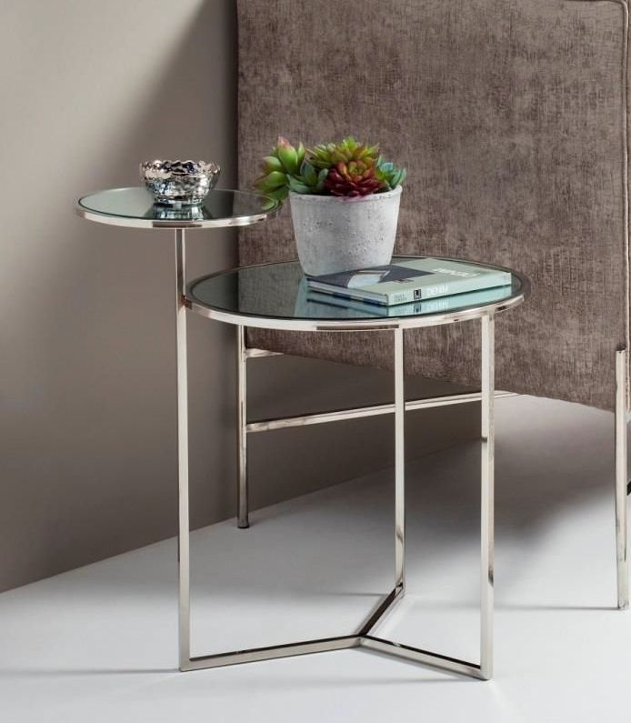 Serene Ava Lamp Table - Mirrored and Chrome