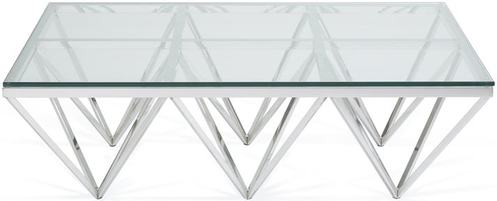 Serene Star Rectangular Coffee Table - Glass and Chrome