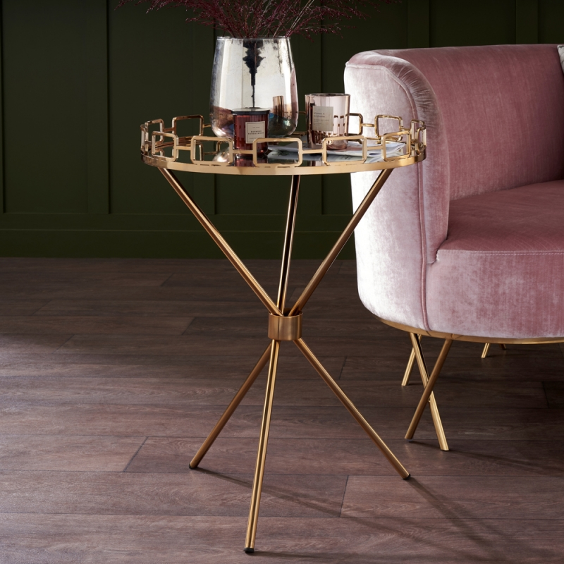 Serene Delhi Mirrored Glass and Antique Gold Round Tray Table