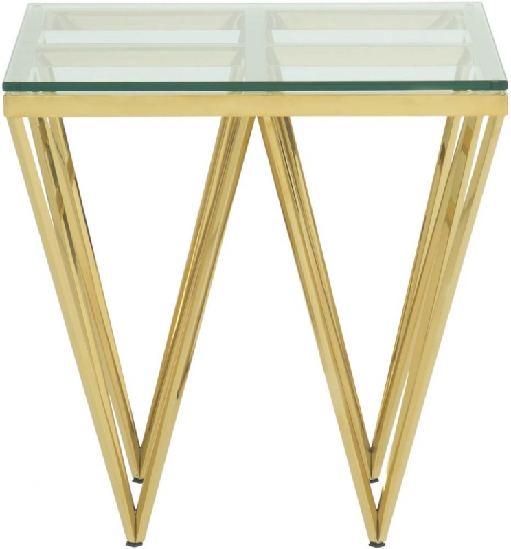 Serene Star Glass and Gold Square Lamp Table