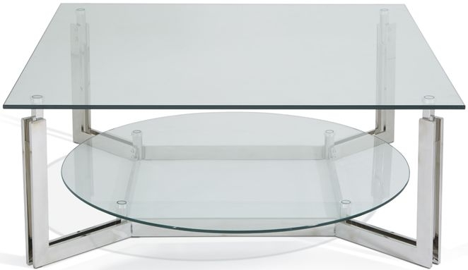 Serene Luna Stainless Steel and Glass Coffee Table