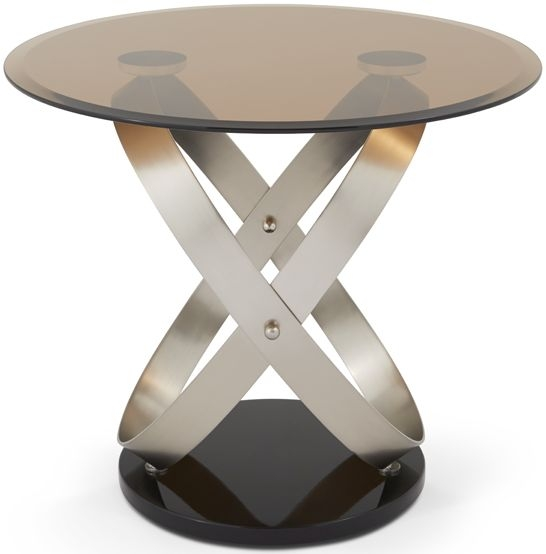 Serene Miranda Satin and Smoked Glass Lamp Table