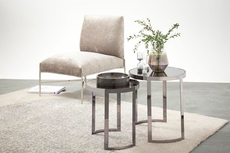 Serene Topaz Nest of 2 Table - Mirrored and Black Nickel