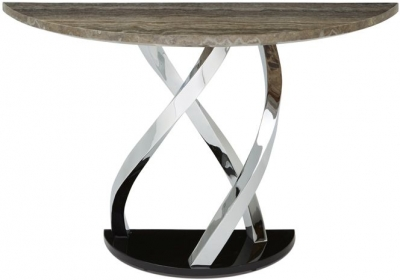 Serene Pandora Marble and Chrome Console Table