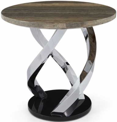 Serene Pandora Marble and Chrome Lamp Table