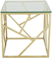 Serene Phoenix Gold and Glass Lamp Table