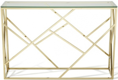 Serene Phoenix Gold and Glass Console Table