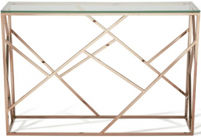 Serene Phoenix Console Table - Glass and Rose Gold