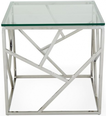 Serene Phoenix Lamp Table - Glass and Chrome
