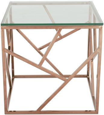 Serene Phoenix Lamp Table - Glass and Rose Gold