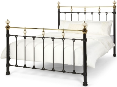 Serene Precious Abigail Black with Dark Brass Metal Bed