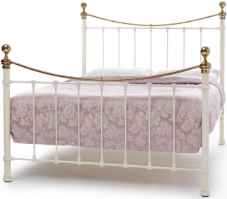 Serene Precious Ethan Ivory Gloss with Brass Metal Bed
