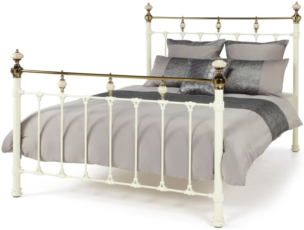 Serene Abigail Metal Bed - Ivory and Dark Brass