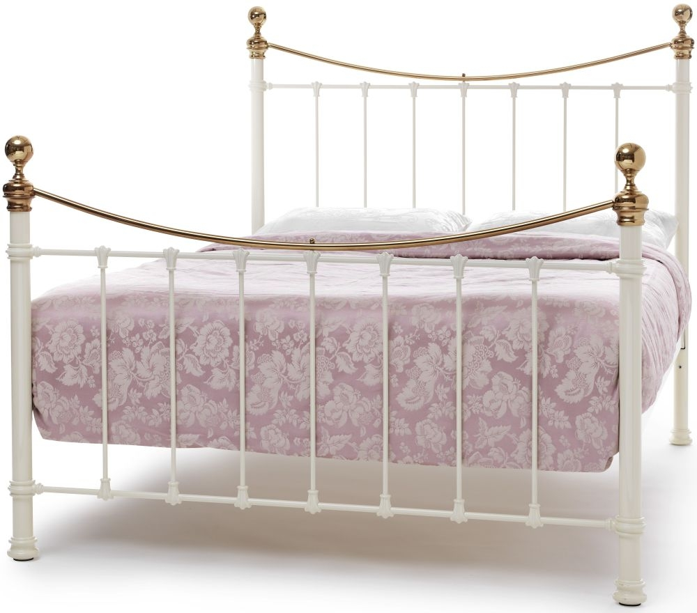 Serene Ethan Metal Bed - Ivory Gloss and Brass