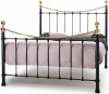 Serene Ethan Metal Bed - Black and Brass