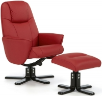 Serene Bergen Red Faux Leather Recliner Chair Serene