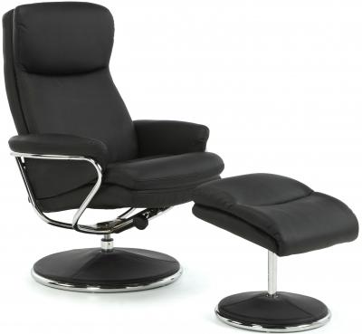 Serene Halden Black Faux Leather Recliner Chair