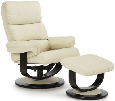 Serene Horten Cream Faux Leather Recliner Chair