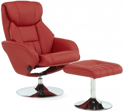 Serene Larvik Red Faux Leather Recliner Chair