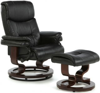 Serene Moss Black Faux Leather Recliner Chair